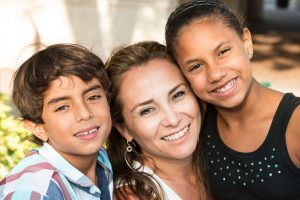 Image of mother and two children