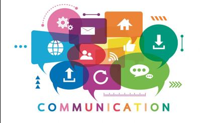Random communication symbols in random colors stock photo