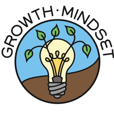 Growth Mindset logo of light bulb in dirt with plants growing out of it