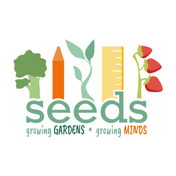 Seeds growing gardens, growing minds logo