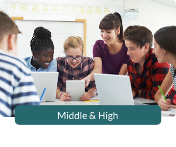 Button link to resources for Middle & High School