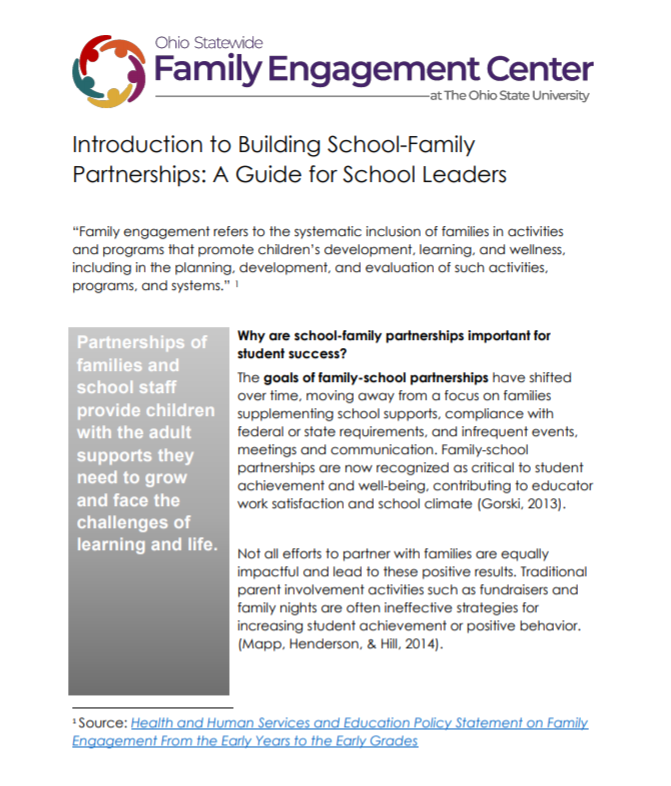 Cover of Introduction to Building School-Family Partnerships: A Guide for School Leaders report