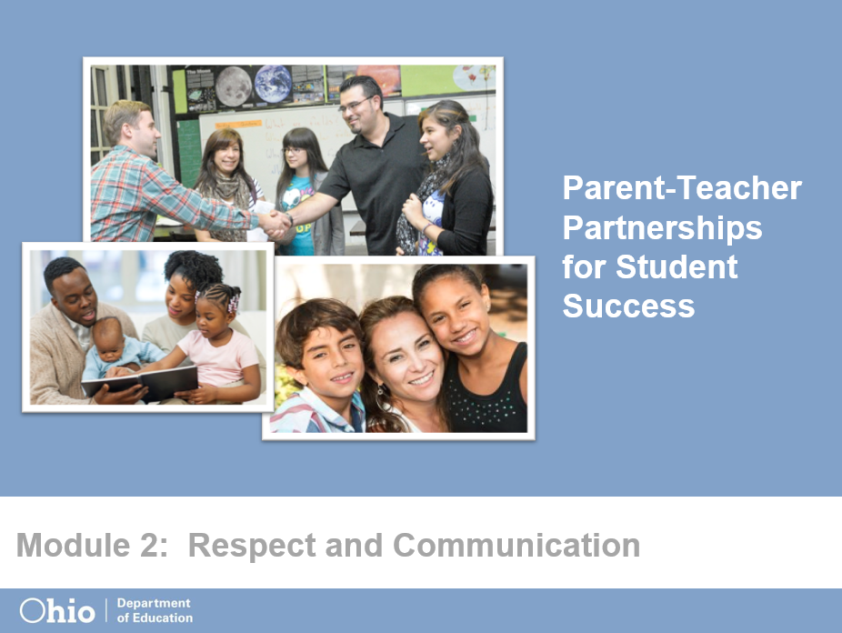 First screen of Parent-Teacher Partnerships for Student Success Module 2: Respect and Communication