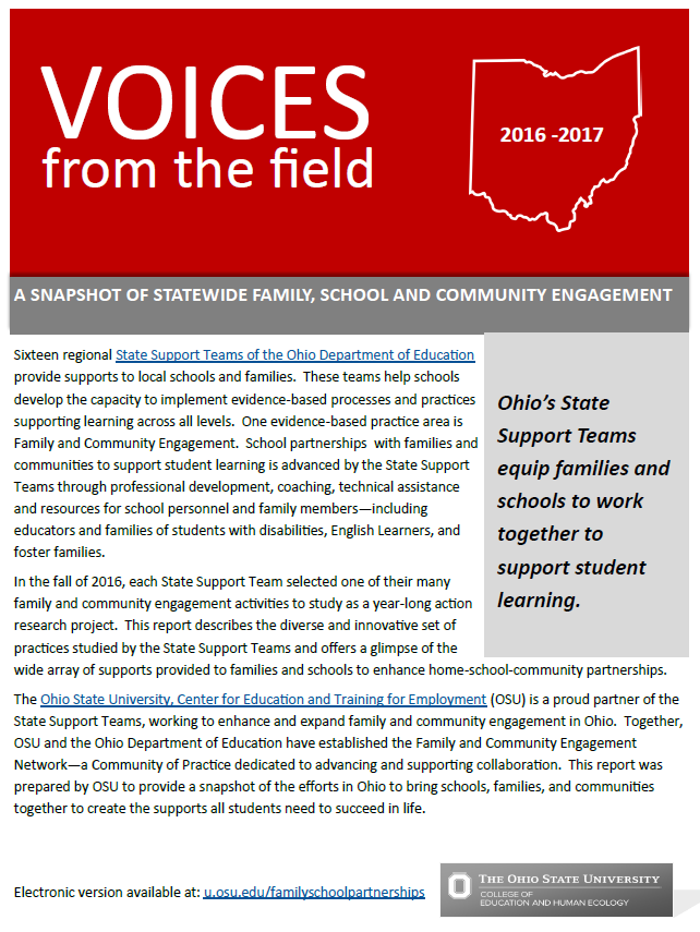 Front page of Voices from the field 2016-2017 report.