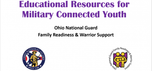 First slide of webinar titled Educational Resources for Military Connected Youth by the Ohio National Guard