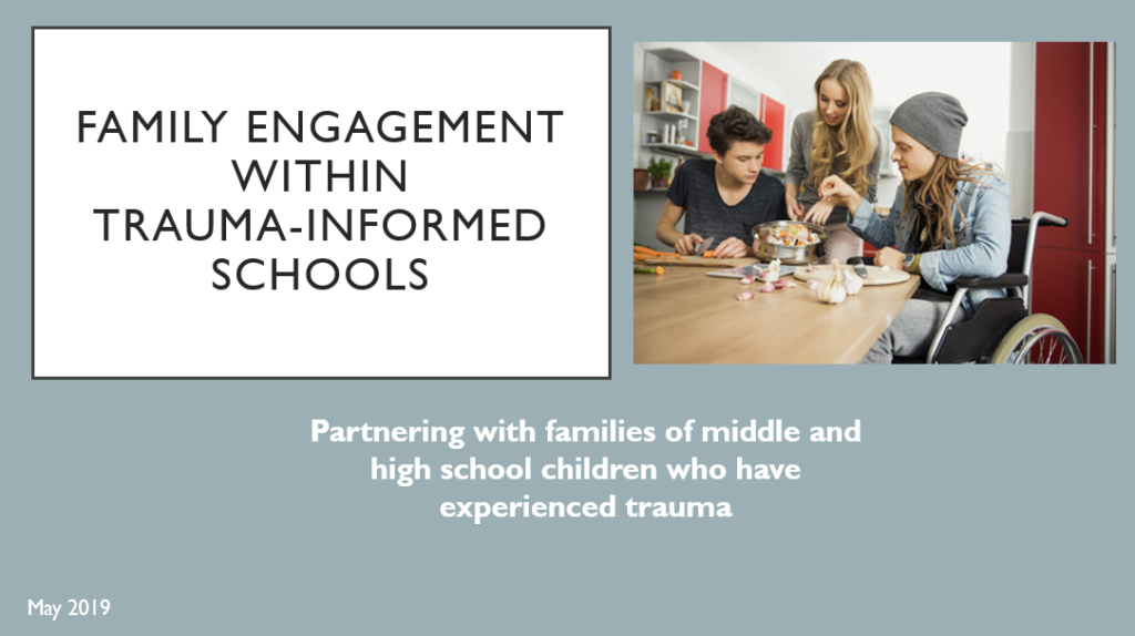 "First PowerPoint Presentation Slide titled ""Family Engagement within Trauma-Informed Schools"""