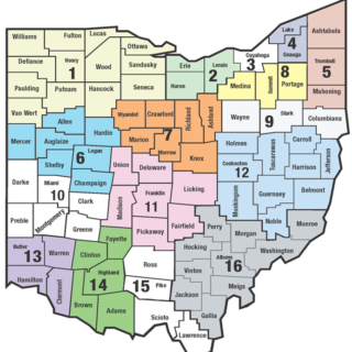 map of ohio split into 16 regions representing ohios state support team regional office coverage