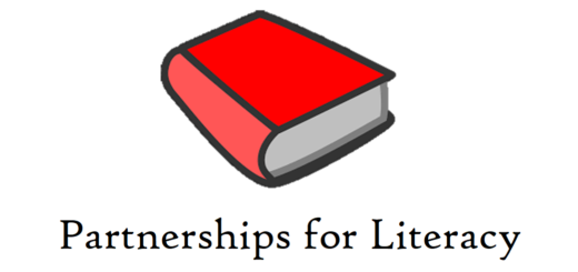 Partnerships for Literacy logo with red book
