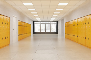 Picture of empty school hallway with yellow lockers.