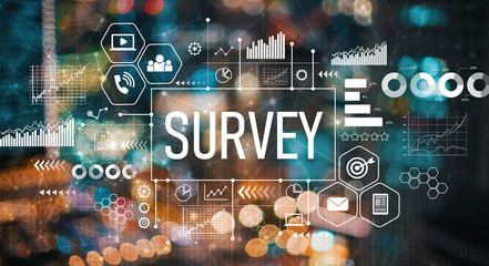 Picture of the word SURVEY with technological symbols like a phone and laptop.