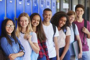 Children in front of lockers