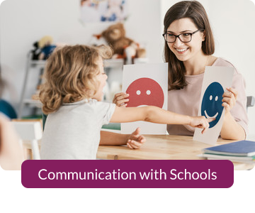 Button link to resources for Communications with Schools.