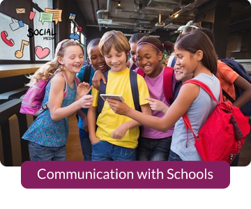 Button link to resources for Communication with Schools.