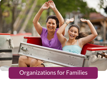 Button link to resources for Organizations for Families.