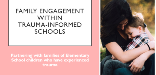 First slide of family engagement within trauma informed elementary schools presentation