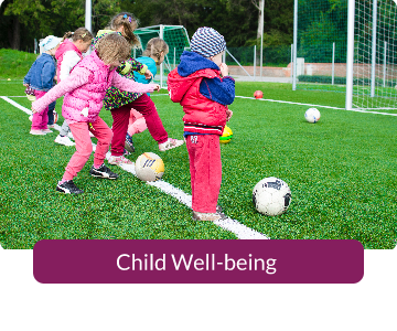 Button link to resources for Child Well-being.