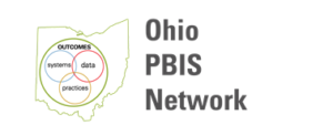 Ohio PBIS network logo, with the outline of the state of ohio and three interlocking circles that say systems, data, and practices