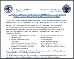 Fact Sheet for non English proficient families
