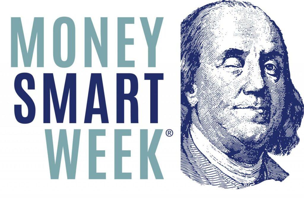 Money Smart Week logo featuring Benjamin Franklin's winking face