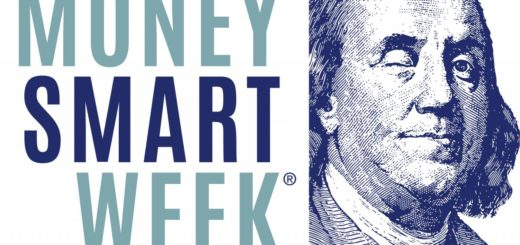 Money Smart Week logo featuring Benjamin Franklin's winking face