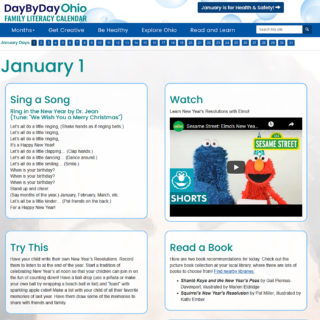 day by day calendar for january