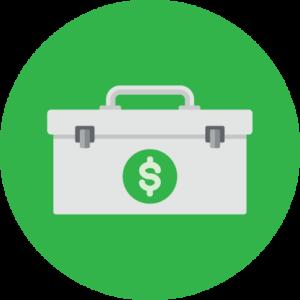 lock box with money symbol