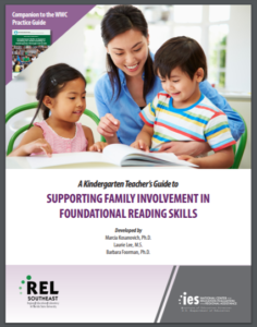 report cover with a mother and two children reading