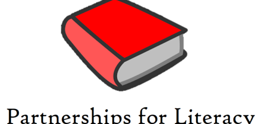 Large red book, the Partnerships for Literacy logo