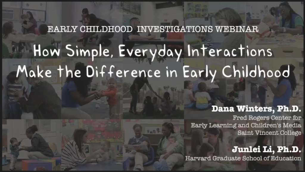 "webinar intro slide called ""How Simple, Everyday Interactions Make the Difference in Early Childhood"""