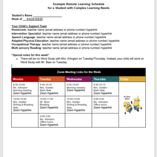 Sample schedule for child with complex learning needs