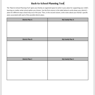 back to school planning tool for families