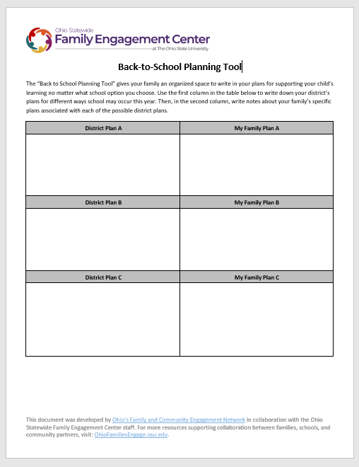 Back to school planning tool, which is a word document with two columns in a table on page 1, and page 2 has guiding questions in column 1 and open space for families two write responses in column 2
