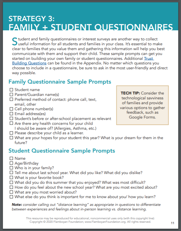 Strategy 3: Family + Student Questionnaires