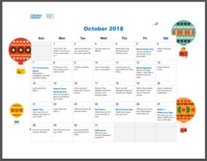 Literacy Central October 2018 Calendar