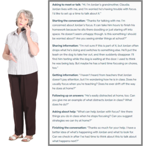 Older white woman standing while talking on the phone with text from the conversation on the side