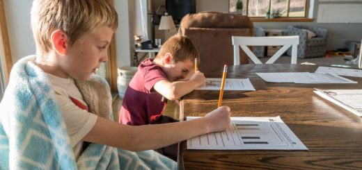 Two young white boys working on school worksheets with pencils on a kitchen table
