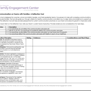 Healthy Communication Reflection Tool worksheet