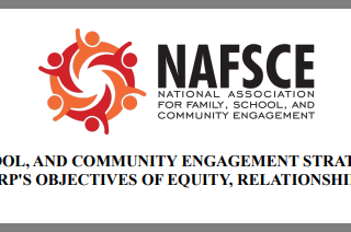 """NAFSCE logo """"What family, school, and community engagement strategies might LEAs employ to meet ARP's objectives of equity, relationships, and learning?"""""""