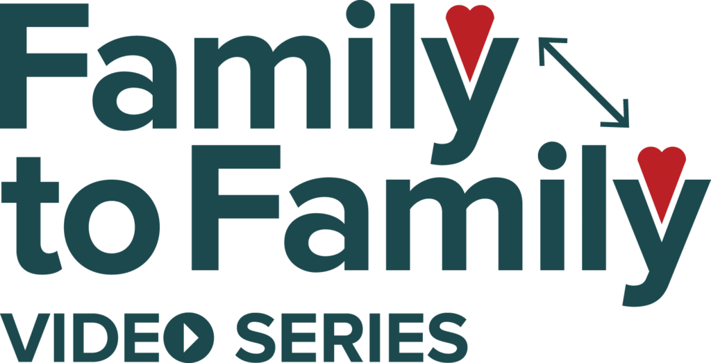 """the Family to Family Series Logo, which has red hearts inside the """"Y"""" in Family, and an arrow connecting two hearts together"""