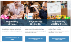 Screenshot from the EiE Engineering at Home website homepage