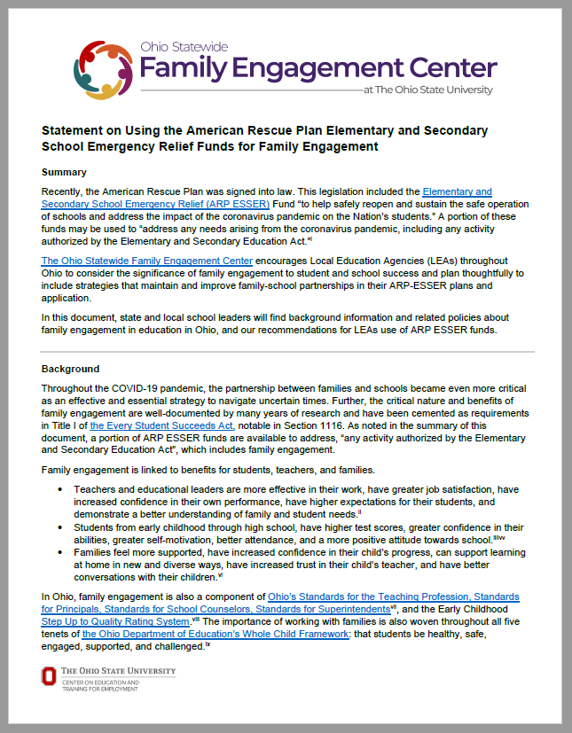 Ohio Statewide Family Engagement Center's Statement on Using ARP ESSER Funds for Family Engagement