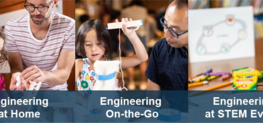 Screenshot from the EiE Engineering at Home website homepage showing families doing STEM activities