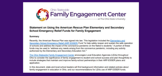 Screenshot of the Ohio Statewide Family Engagement Center's Statement on Using the American Rescue Plan Elementary and Secondary School Emergency Relief Funds for Family Engagement