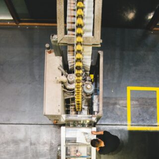 Top view of industrial machine