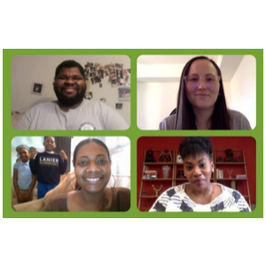 Four diverse people on a web conference each in a separate window