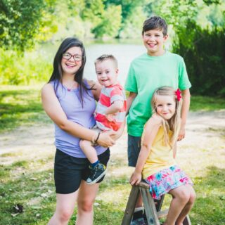 a mother with three children, one with down syndrome