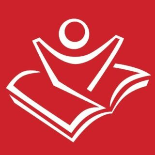 Raising a Reader logo which is a book with an outline of a person raising up out of it