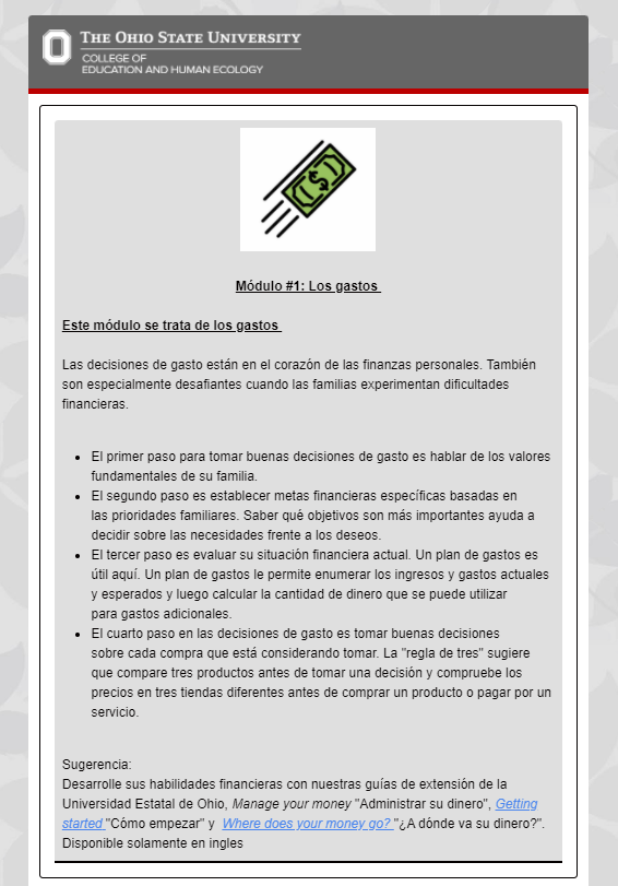 Module 1 example page in Spanish